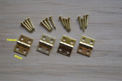 Tiny Brass Plated Hinges - pack of 4