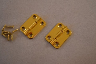 Gold Plated Chamfer Corner Hinges (pairs)