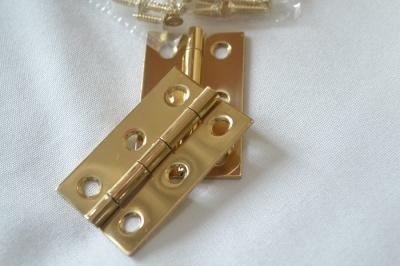 2'' Polished Solid Brass Hinges (pair)