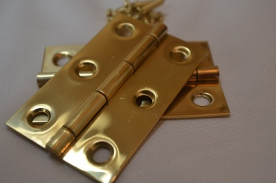 2½'' Polished Solid Brass Hinges (pair)