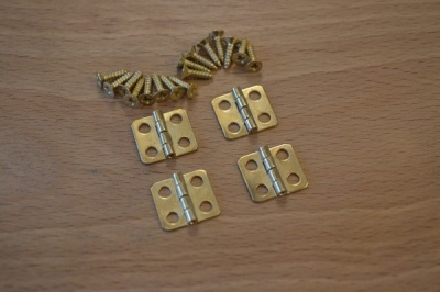 Mini Brass Plated Hinges (4) with screws