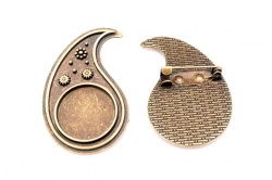 Brooch Blanks - Teardrop Bronze (pair)